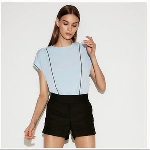 Express Light Blue Piped Zip Back Crew Neck Blouse